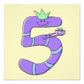 5th födelsedagCartoon. för lilor Fyrkantigt 13,3 Cm Inbjudningskort