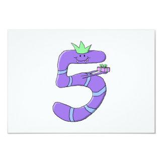 5th födelsedagCartoon. för lilor 8,9 X 12,7 Cm Inbjudningskort