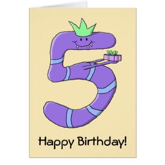 5th födelsedagCartoon. för lilor Hälsningskort