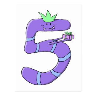5th födelsedagCartoon. för lilor Vykort
