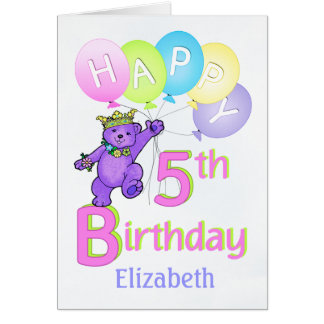 5th FödelsedagPrincess Uthärda, anpassningsbarnamn Hälsningskort