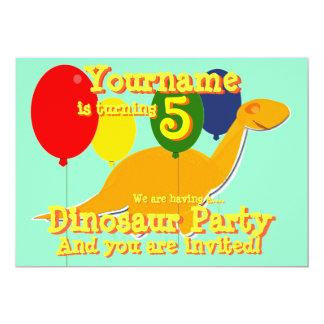 5th födelsedagsfest inbjudan för Dinosaur 12,7 X 17,8 Cm Inbjudningskort