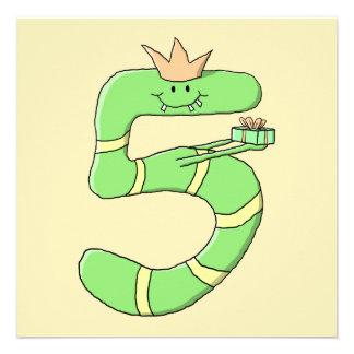 5th Födelsedagtecknad som är grön Tillkännagivande
