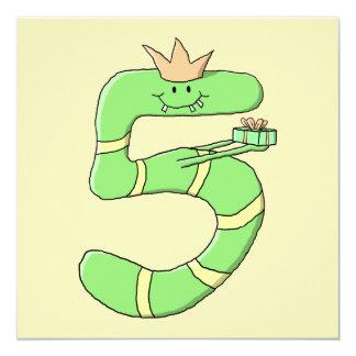 5th Födelsedagtecknad som är grön Fyrkantigt 13,3 Cm Inbjudningskort