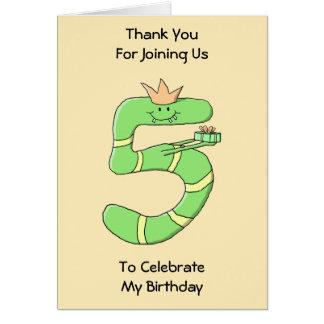 5th Födelsedagtecknad som är grön Hälsnings Kort