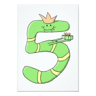 5th Födelsedagtecknad som är grön 8,9 X 12,7 Cm Inbjudningskort