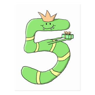5th Födelsedagtecknad som är grön Vykort