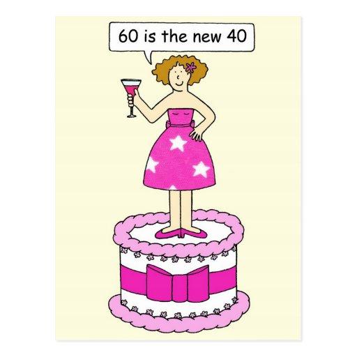 60 är den kvinnliga cartoon.en för födelsedag nya  vykort