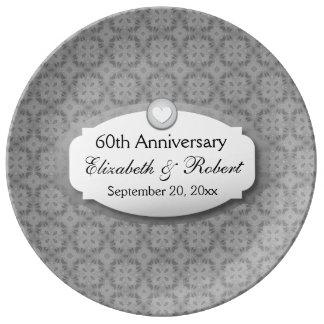 60th Årsdagbröllopsdagdiamant A04 Porslinstallrik