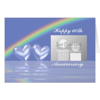 60th Årsdagdiamanthjärtor (för foto) Hälsningskort