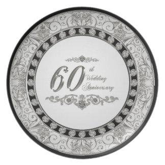 60th Bröllopsdagen pläterar Tallrik