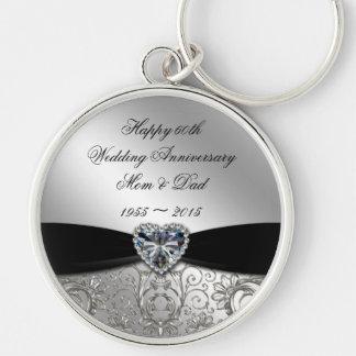 60th Bröllopsdagnyckelring Rund Silverfärgad Nyckelring