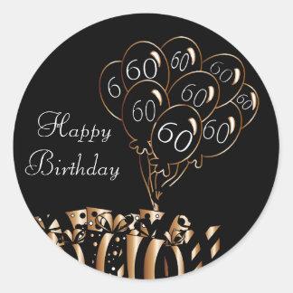 60th födelsedag för lycklig runt klistermärke