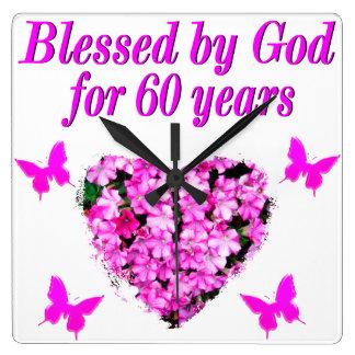 60TH FÖDELSEDAGDESIGN för ROSA BLOM- KRISTEN Fyrkantig Klocka