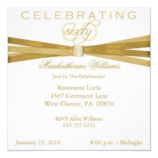 60th födelsedagsfest inbjudan för elegant fyrkantigt 13,3 cm inbjudningskort