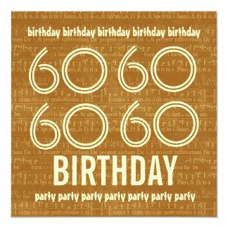 60th Guld- musik noter H402 för födelsedagsfest Kort För Inbjudningar