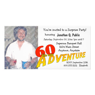 60th Inbjudan för foto för födelsedagäventyrparty Fotokort