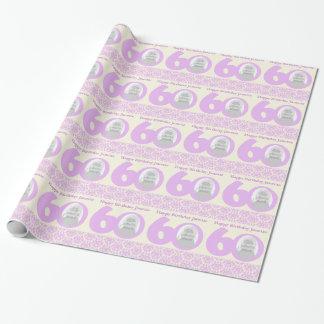 60th Inpackning för kräm för födelsedagfotodamast Presentpapper