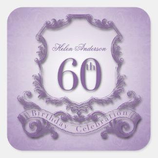 60th Klistermärkear för födelsedagfirandepersonlig Fyrkantigt Klistermärke