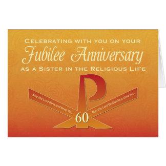 60th Kor för Pax för Jubileeårsdagnunna, orange Hälsningskort