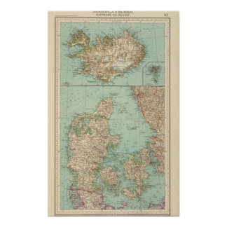 65 Danmark, island Poster