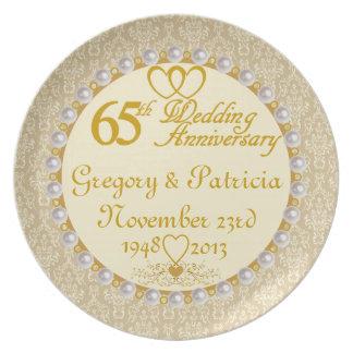 65eårsdagen för PERSONLIGEN (NAMES/DATES) pläterar Tallrik