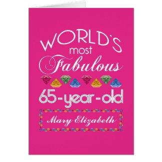 65efödelsedag mest rosa sagolika färgrika Gems Hälsningskort