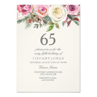 67th 68th 69th födelsedag för vit ros65e 66th 11,4 x 15,9 cm inbjudningskort