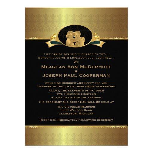 "6,5 x 8,75"" guld- elegantt lyxigt modernt bröllop"