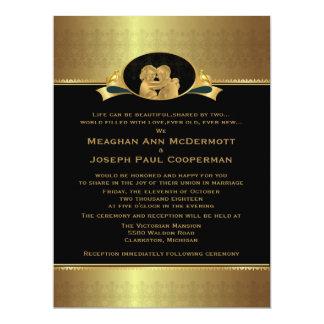 "6,5 x 8,75"" guld- elegantt lyxigt modernt bröllop 16,5 x 22,2 cm inbjudningskort"