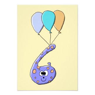 6efödelsedag purpurfärgad födelsedagmonsterCartoo Anpassningsbara Inbjudningskort