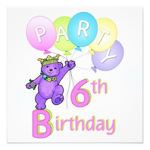 6efödelsedagsfestPrincess Uthärda Svälla Anpassade Inbjudan