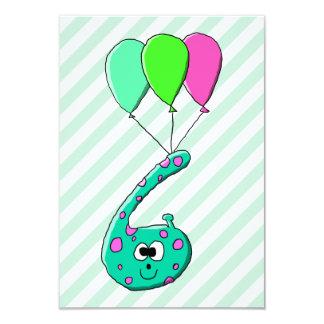6efödelsedagtecknad, krickagrönt och FuchsiaPink. 8,9 X 12,7 Cm Inbjudningskort