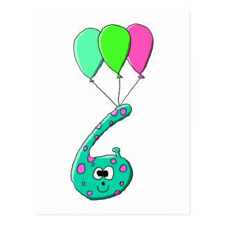 6efödelsedagtecknad, krickagrönt och FuchsiaPink. Vykort