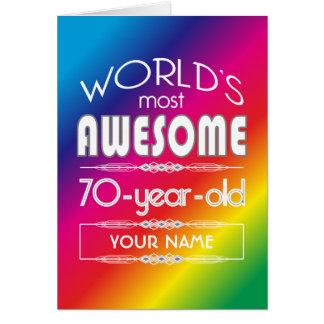 70th Bäst sagolik regnbåge för födelsedagvärldar Hälsningskort