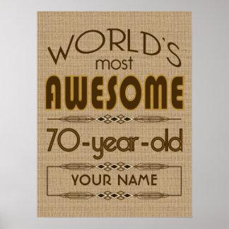 70th Bäst sagolikt för födelsedagfirandevärld Poster