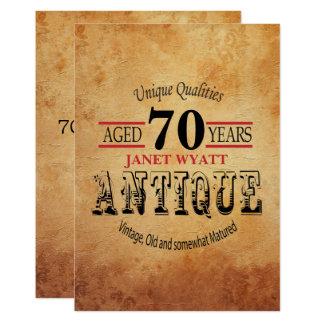 70th födelsedag för antikvitet 12,7 x 17,8 cm inbjudningskort