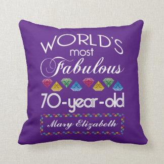 70th Födelsedag mest purpurfärgade sagolika Kudde