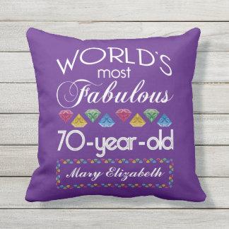 70th Födelsedag mest purpurfärgade sagolika Utomhuskudde