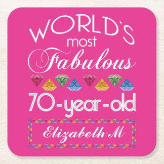 70th Födelsedag mest rosa sagolika färgrika Gems Underlägg Papper Kvadrat
