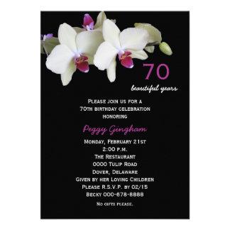 70th Födelsedagsfest inbjudan -- Orchids