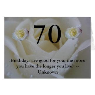 70th Hälsning för födelsedagvit roscitationstecken Hälsningskort