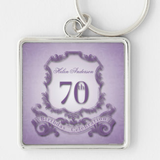70th Keychain för personlig för Fyrkantig Silverfärgad Nyckelring