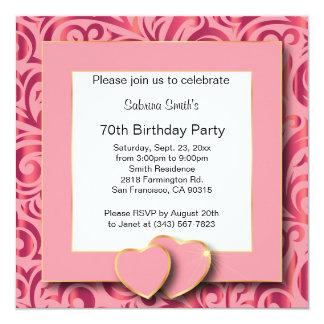 70th Text för födelsedagsfest | DIY Fyrkantigt 13,3 Cm Inbjudningskort