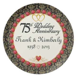 75:eårsdagen för PERSONLIGEN (NAMES/DATES) plätera Tallrik