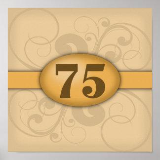 75:efödelsedag/årsdagparty affischer