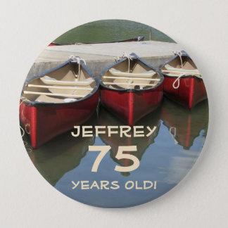 75 gammala år, knäppas tre röda kanoter klämmer stor knapp rund 10.2 cm