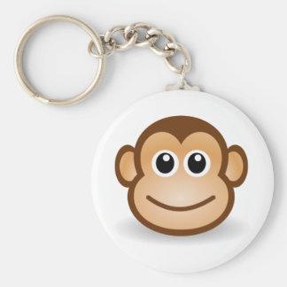 76-Free-Cute-Cartoon-Monkey-Clipart-Illustration Rund Nyckelring