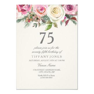 77th 78th 79th födelsedag för vit ros75:e 76th 11,4 x 15,9 cm inbjudningskort