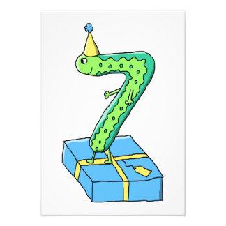 7 efödelsedagtecknad grönt och Blue Anpassningsbara Tillkännagivanden